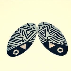 Gray/Black Tribal Print Earrings